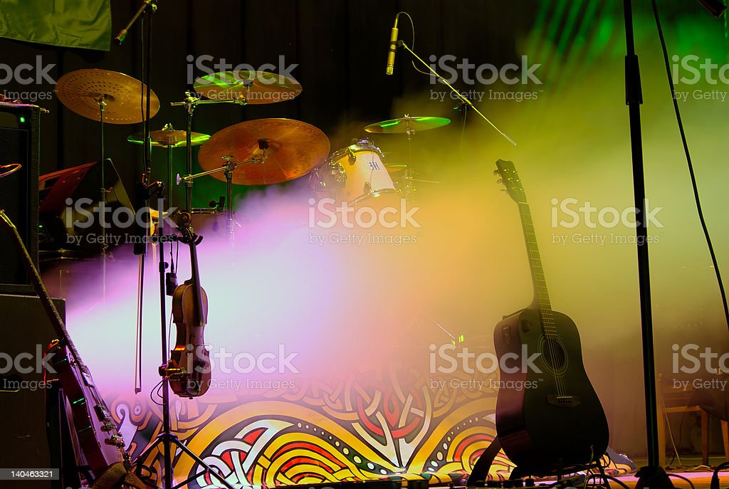 Performance starts Empty stage with instruments ready for performance Adulation Stock Photo