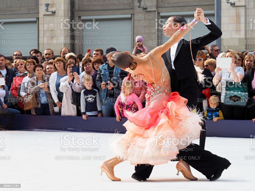 Performances of professional dancers at the celebration in honor of the city's day. Crowd of spectators, Ballroom dancing. Tverskaya street of Moscow. Waltz stock photo
