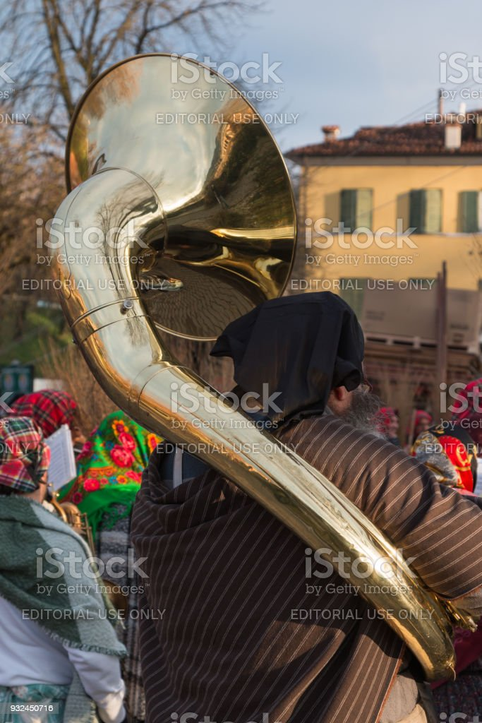 Performer in Band with Brass Sousaphone stock photo