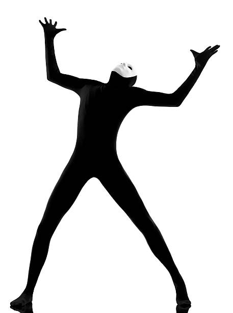 performer mime with mask complaining looking up - leotard stock pictures, royalty-free photos & images