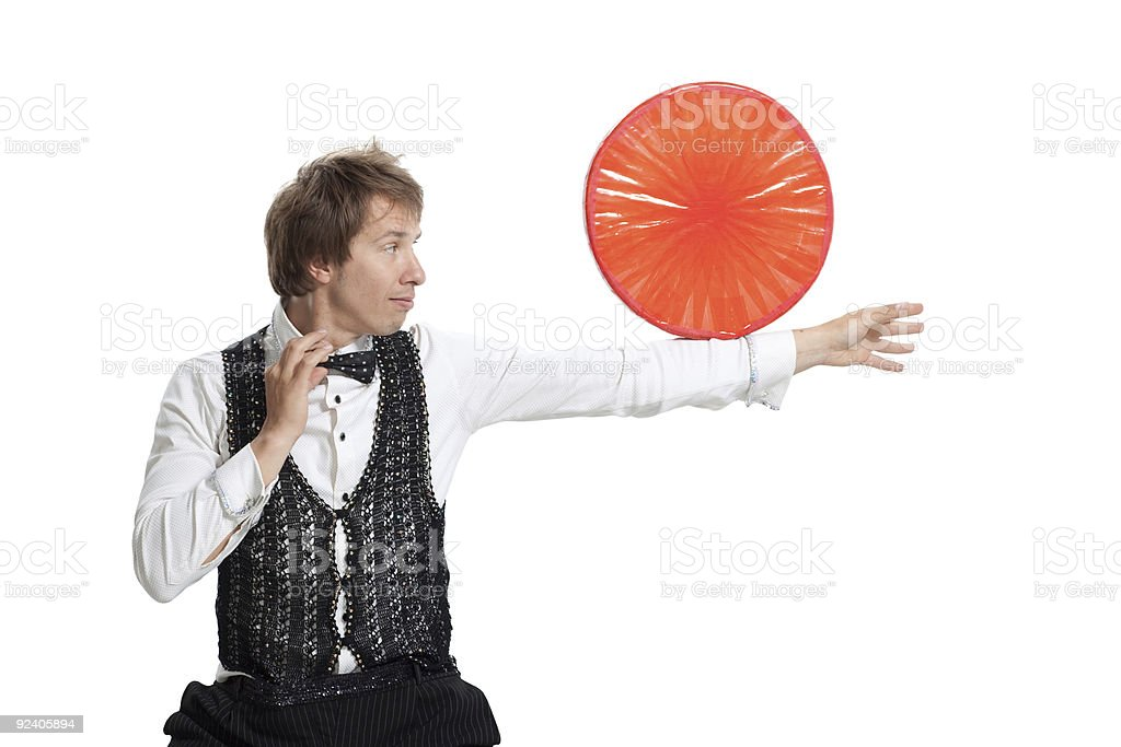 Performer show his juggler ability. royalty-free stock photo