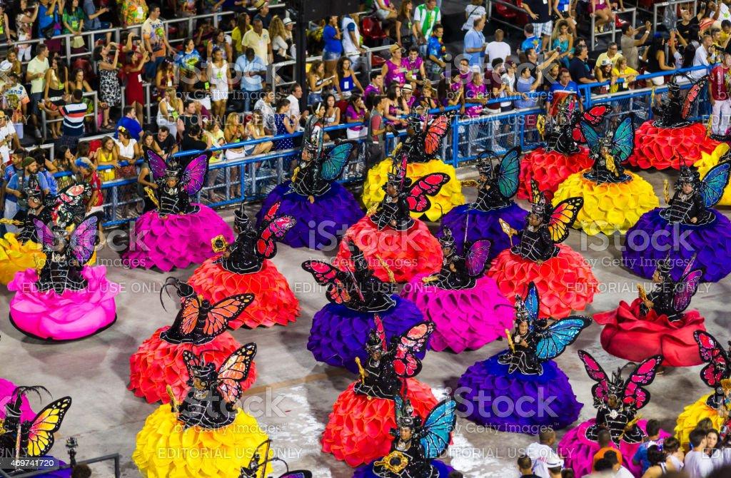 Performers Dancing in Sambadrome Carnival Parade, Rio de Janeiro stock photo
