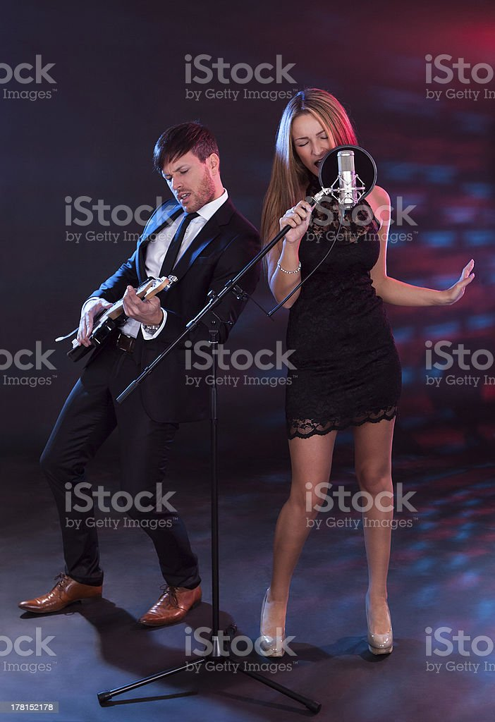 Performers entertain audience stock photo