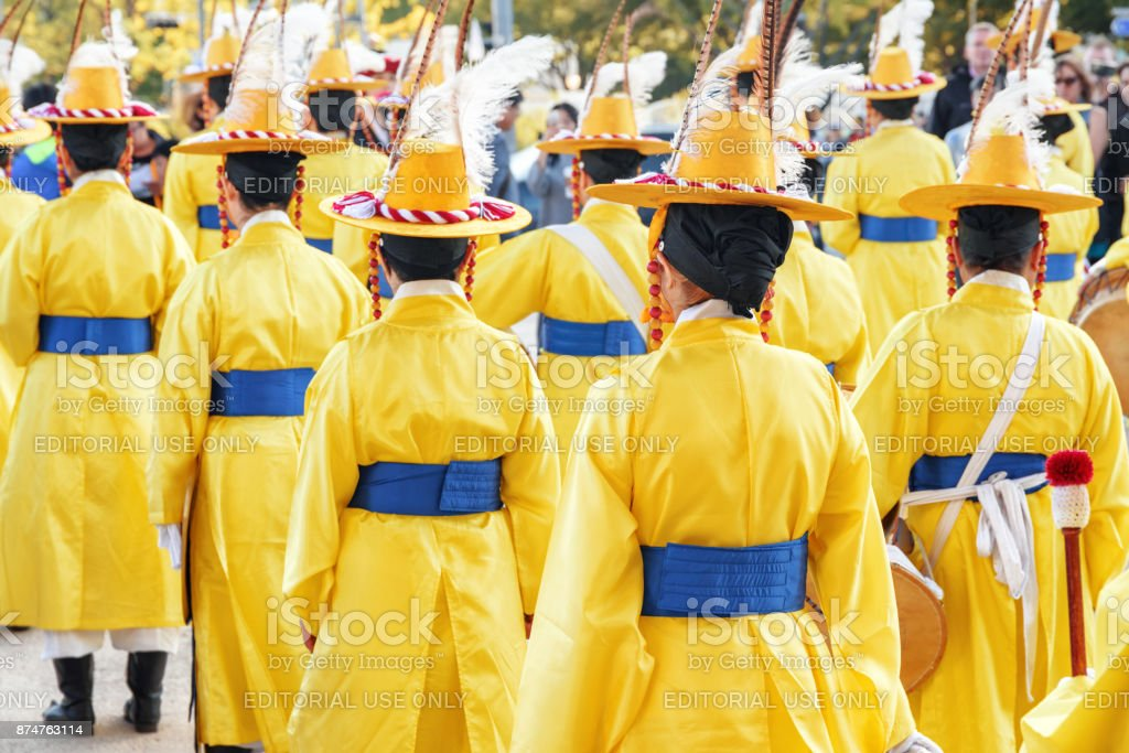 Performers in Korean traditional dress, Seoul, South Korea stock photo