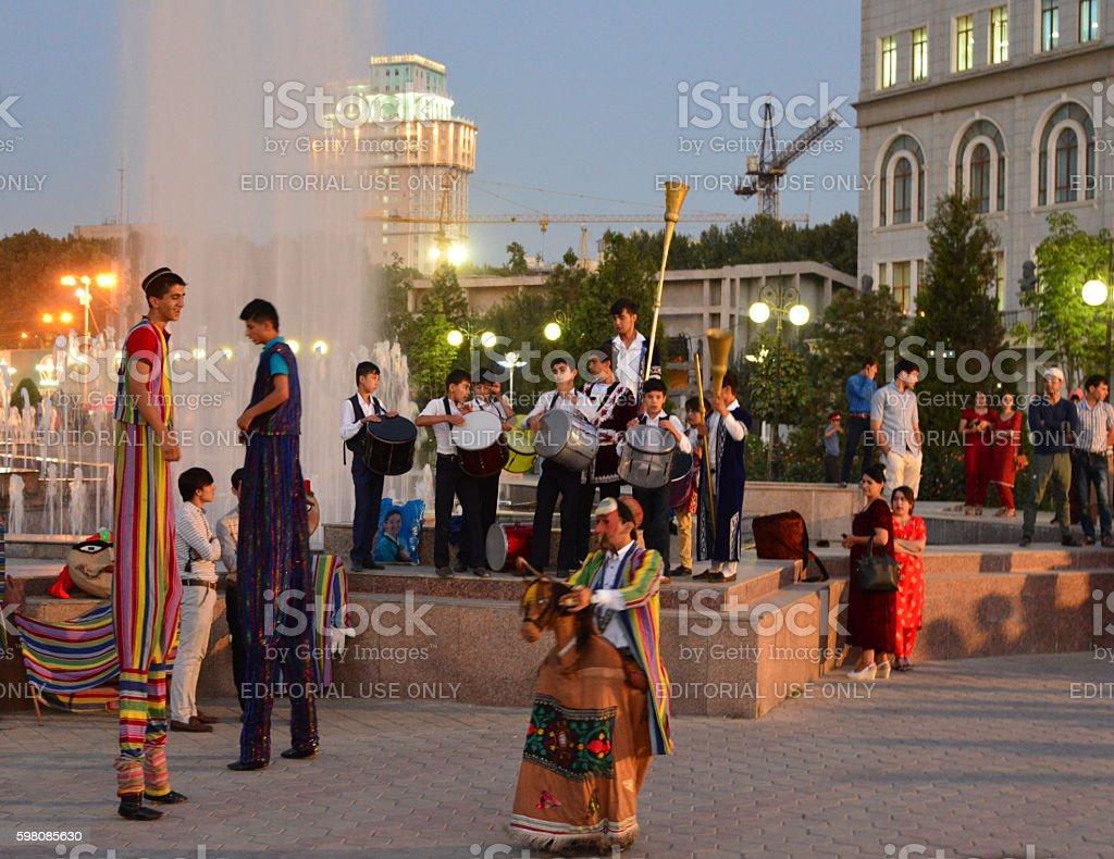 Performers on Dusti square, Dushanbe, Tajikistan stock photo