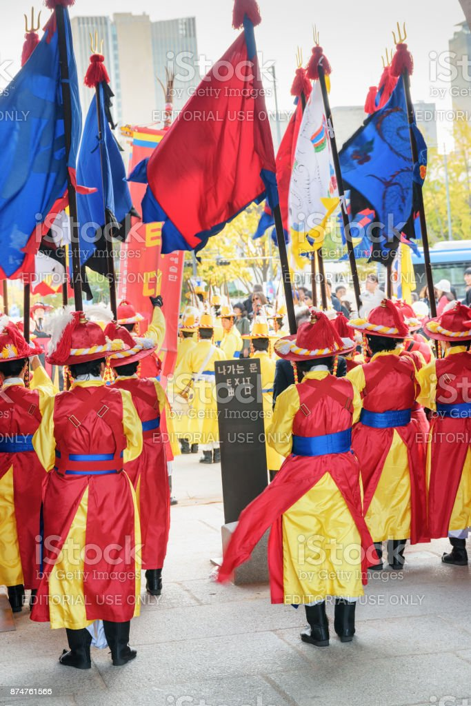 Performers wearing Korean traditional dress, Seoul, South Korea stock photo