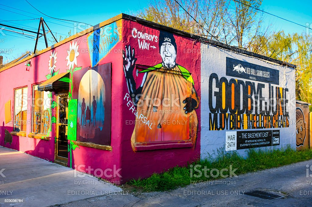 Performing Artist Co-Op building at Five Points in East Nashville Nashville, TN, USA - April 4, 2016: Performing Artist Co-Op building at Five Points in East Nashville Adulation Stock Photo