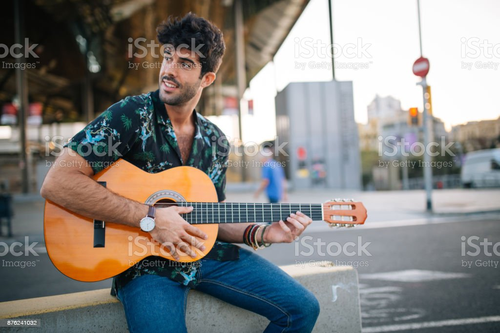 Performing on the street stock photo