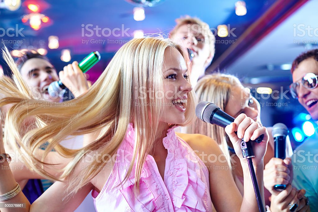 Performing song stock photo