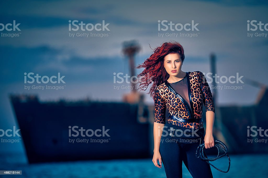 performing tamer woman stock photo
