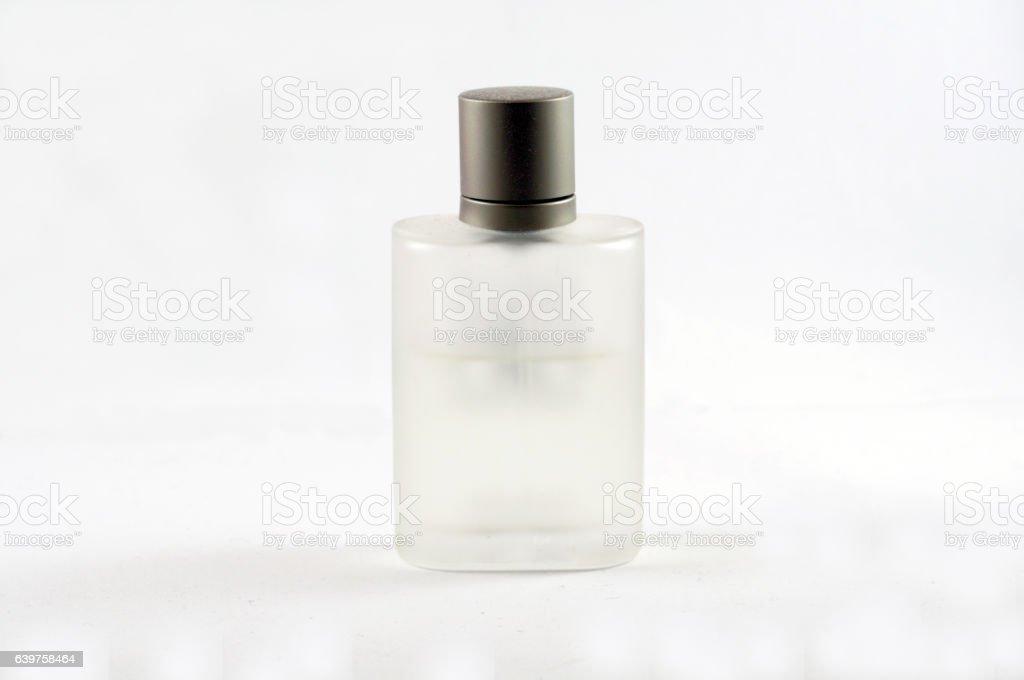 Perfume bottle isolated on white backgrounds stock photo
