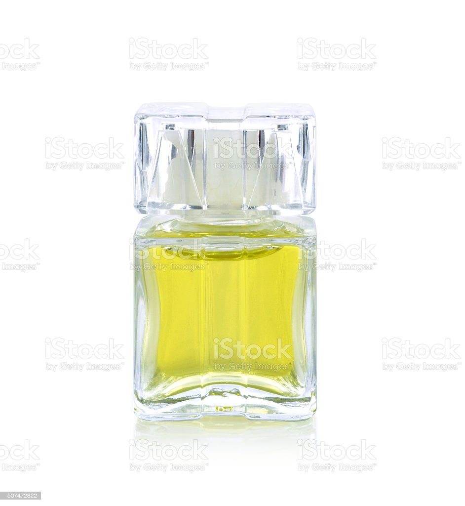 Perfume bottle isolated on white stock photo