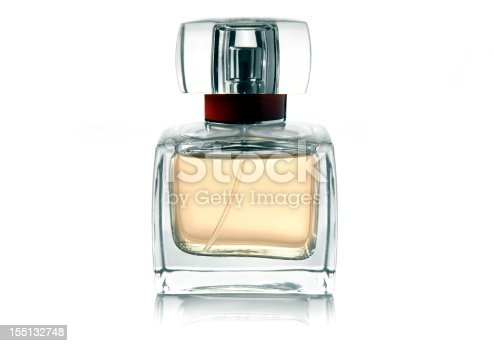 Perfume on white background with reflection