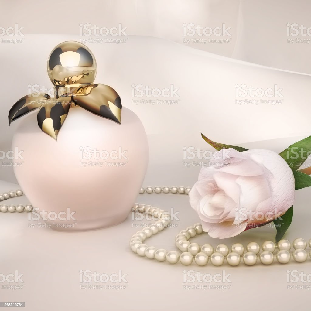 Perfume Bottle White Rose Flower And String Of Pearls Located On