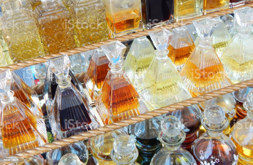 Perfume bottles in the market stock photo