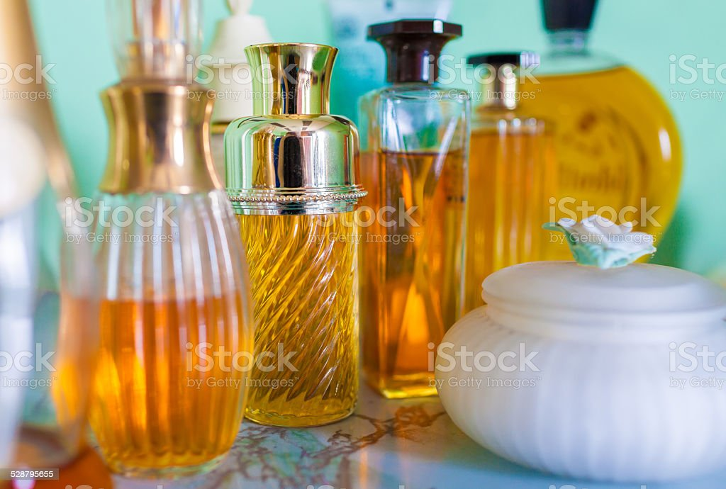 Perfume bottles Perfume collection.  Arts Culture and Entertainment Stock Photo