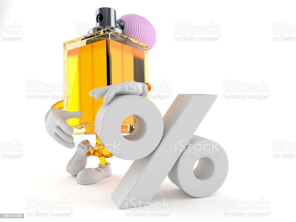 Perfume character with percent symbol royalty-free stock photo