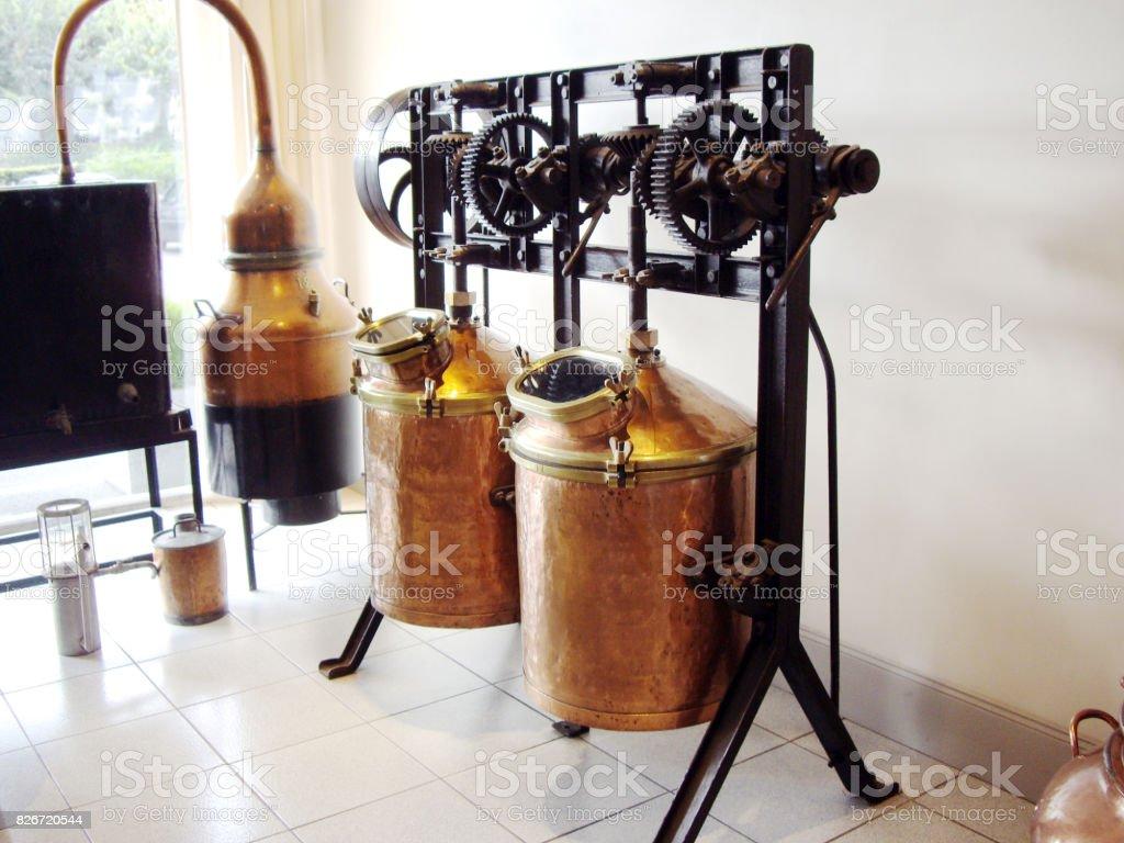 parfume distillation tanks stock photo