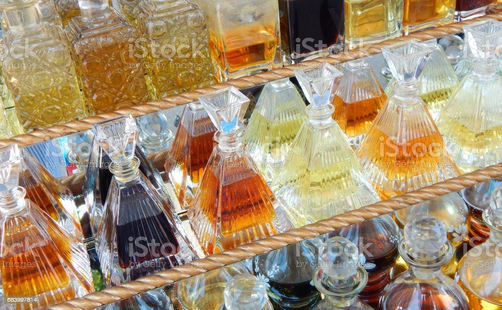 Perfume  or Attar bottles in the street market stock photo
