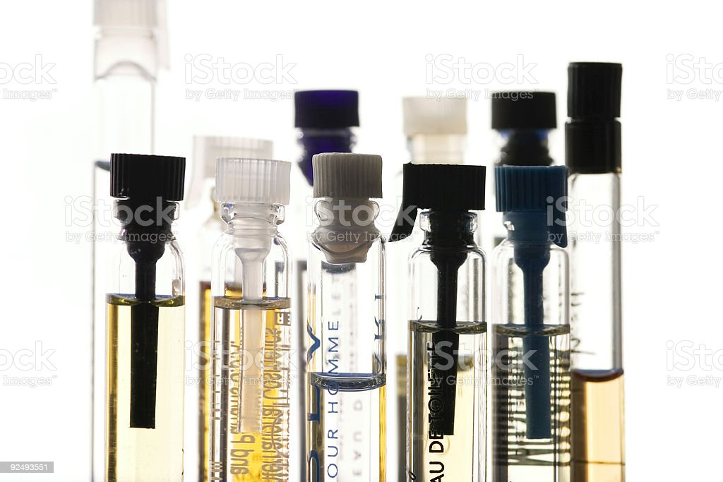 perfume samples stock photo