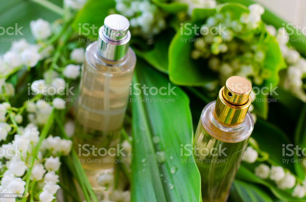 Perfume with lily of the valley aroma stock photo
