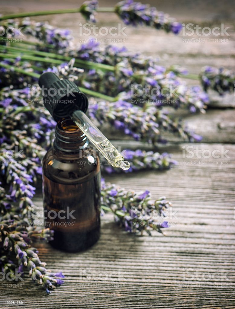Perfumed herbal oil essence and lavender flowers vintage stock photo