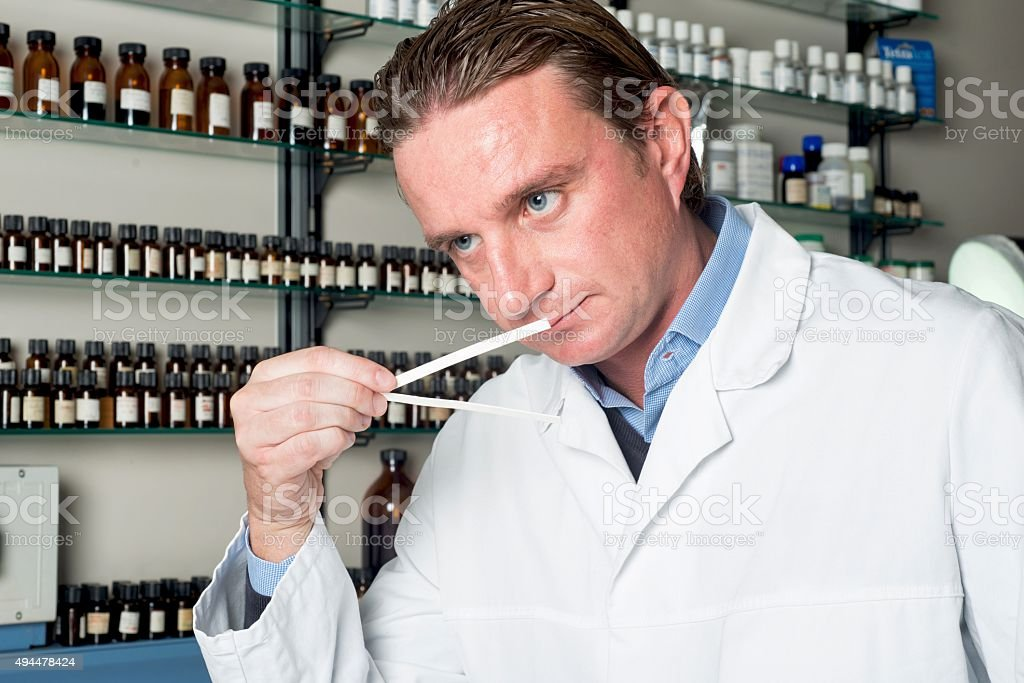 Perfumes Industry. Chemical in Laboratory stock photo