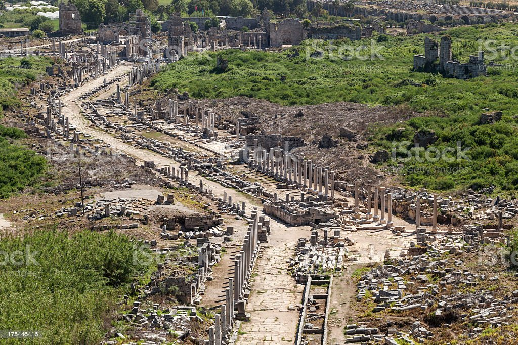 Perge, Overview of main street stock photo