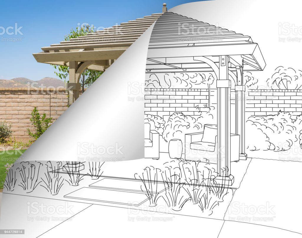 Pergola Drawing with Page Flipping to Completed Photo Behind stock photo