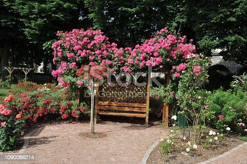 siège-pergola dans un jardin publique