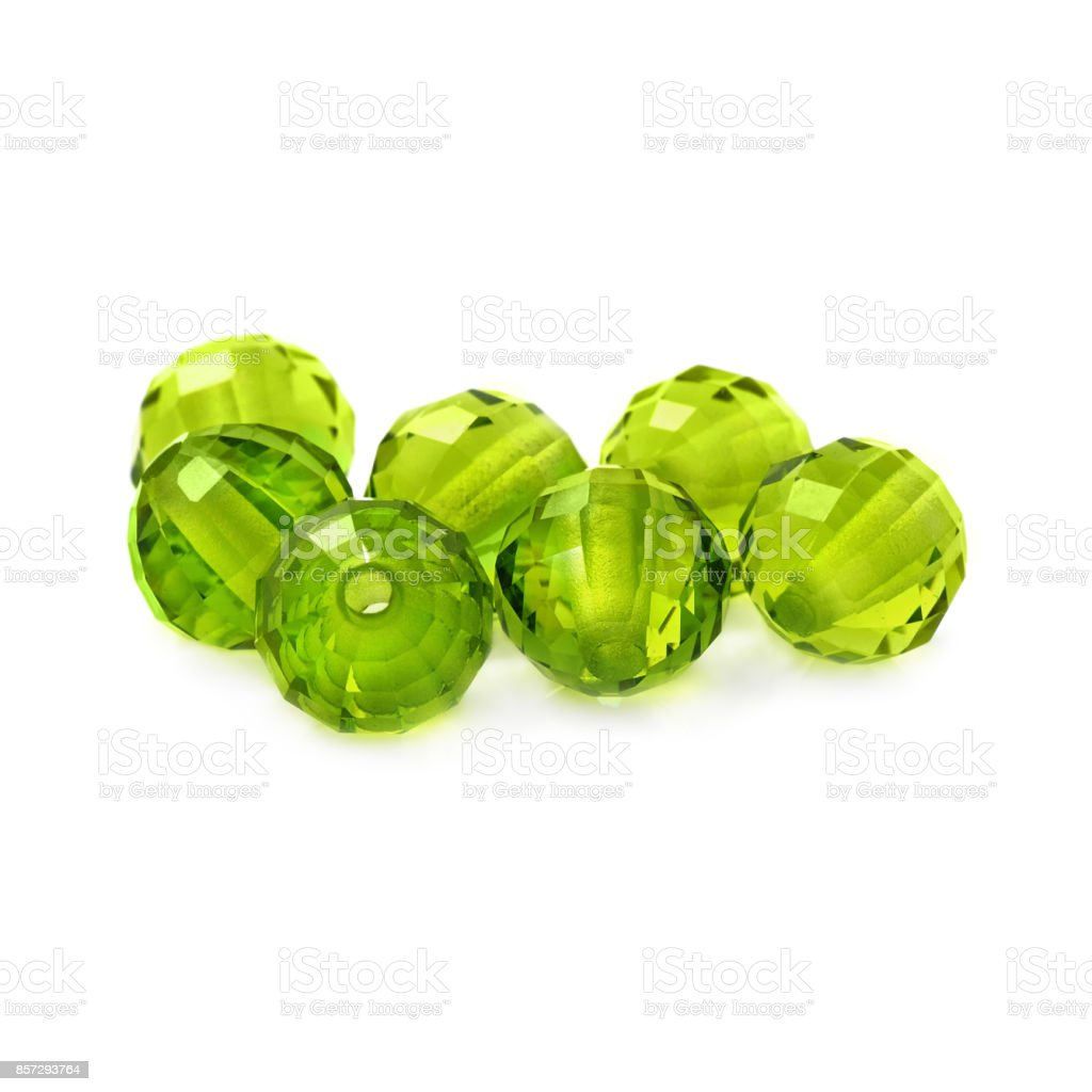 Peridot color beads stock photo