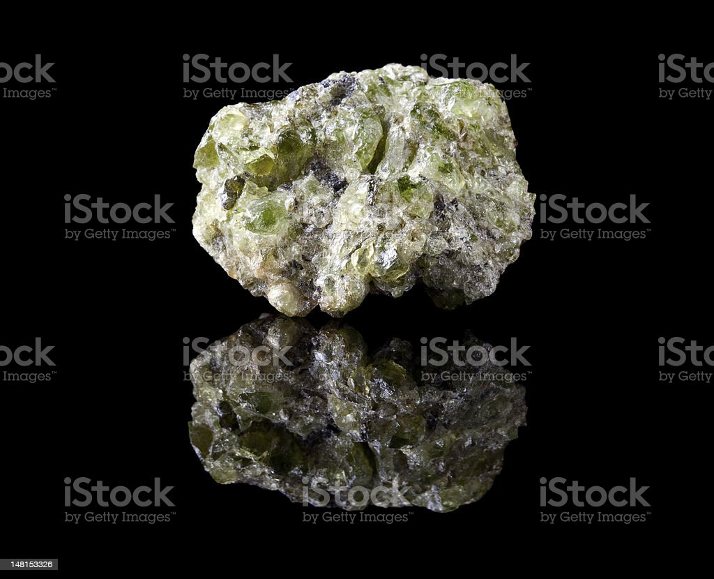 Peridote or olivine crystals stock photo
