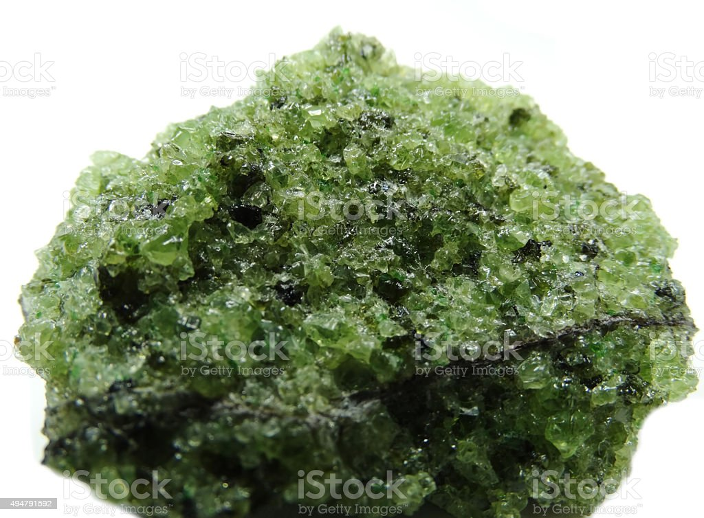 peridote semiprecious mineral geological crystal stock photo