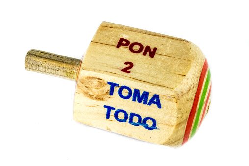 """Perinola mexican handmade wooden toy with titles in spanish """"take all, put one, put two, everyone puts"""""""