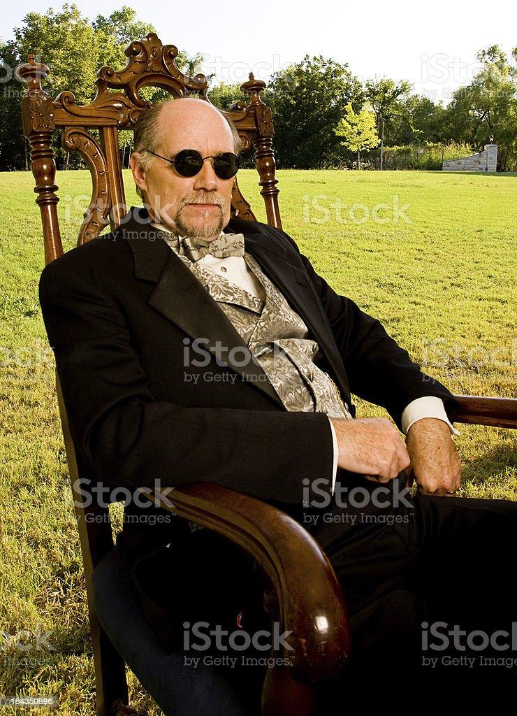 Period Dressed Man Sitting royalty-free stock photo