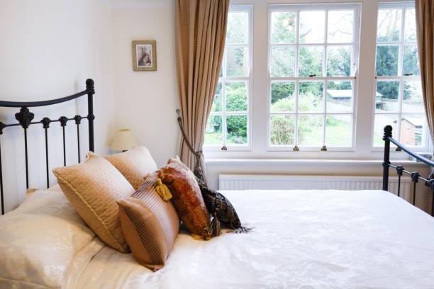 Period house bedroom stock photo