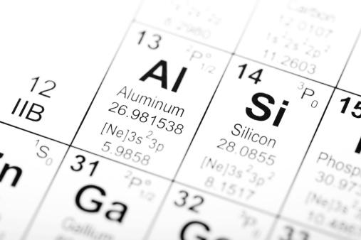 Tavola Periodica Degli Elementi Alluminio E Silicio - Fotografie stock e altre immagini di Alluminio