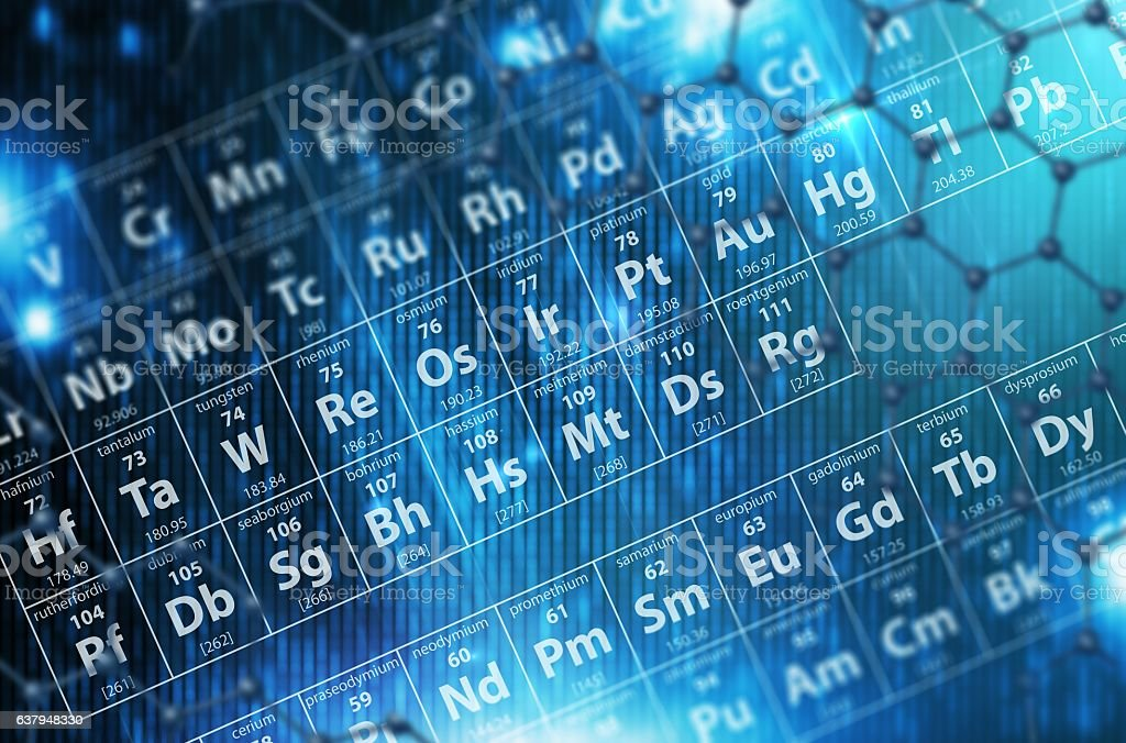 Periodic Table Blue Background stock photo
