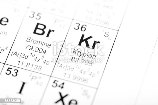 Periodic table detail for the elements bromine and krypton. Image uses an altered public domain periodic table as the source document. Part of a series covering all the elements