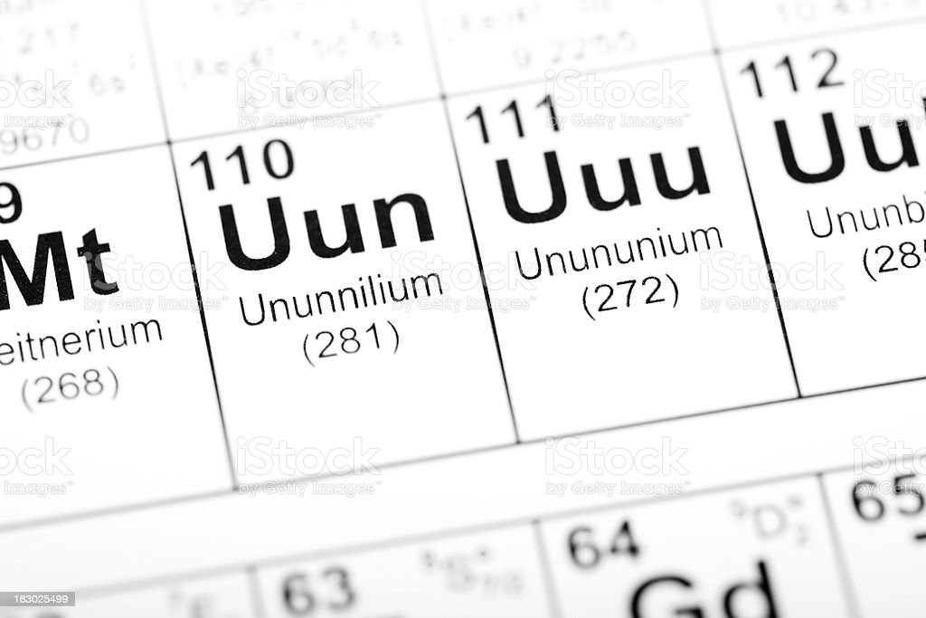 Periodic table element unununium stock photo more pictures of periodic table element unununium royalty free stock photo urtaz Image collections
