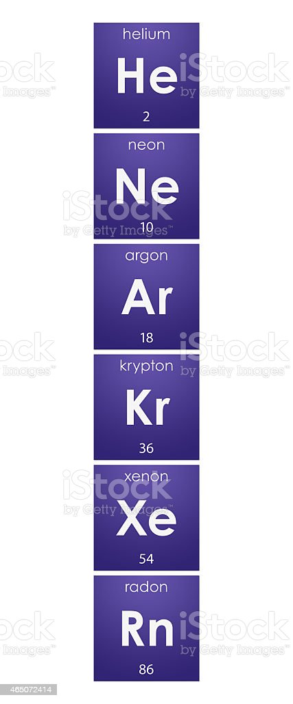 Periodic Table: noble gases, group 18 (chemical elements) stock photo
