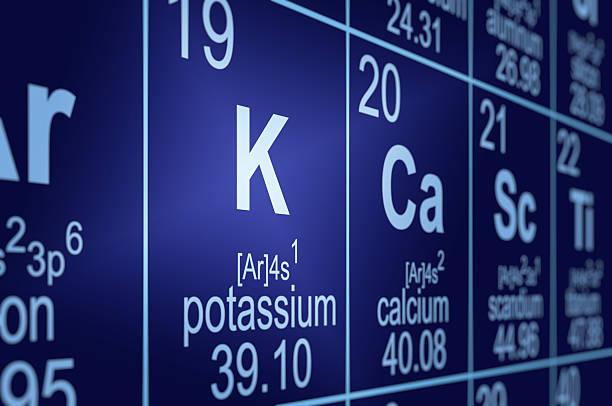 periodic table potassium - kalium stockfoto's en -beelden