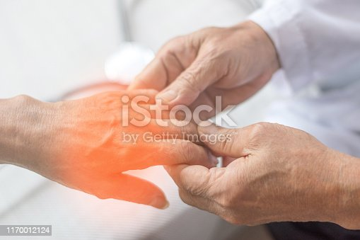 istock Peripheral Neuropathy concept. Doctor neurologist checkup old patient for symptoms of numbness, prickling or tingling in hands 1170012124