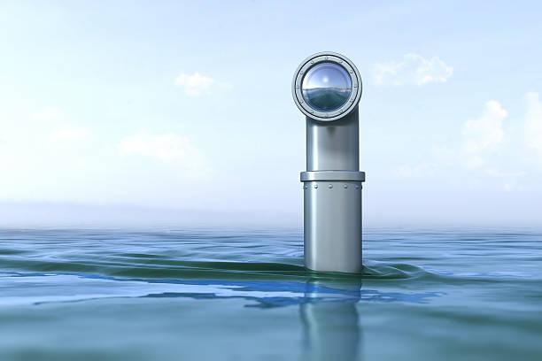 periscopio sobre el agua - submarino fotografías e imágenes de stock