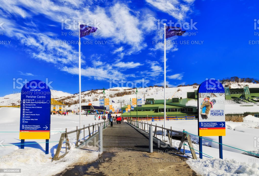 SM Perisher Posters Flags stock photo