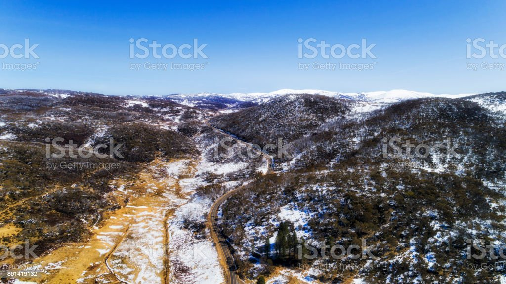 D SM Perisher Valley Rd Sky stock photo