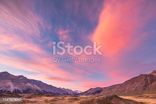 View of the landscape of Perito Moreno National Park at sunset