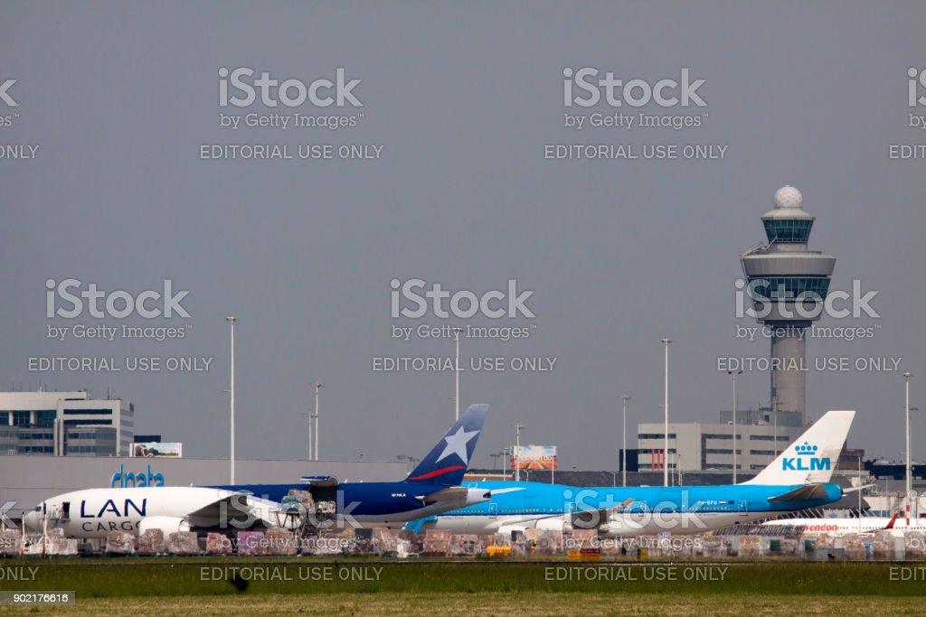 Perked boeings airplanes stock photo