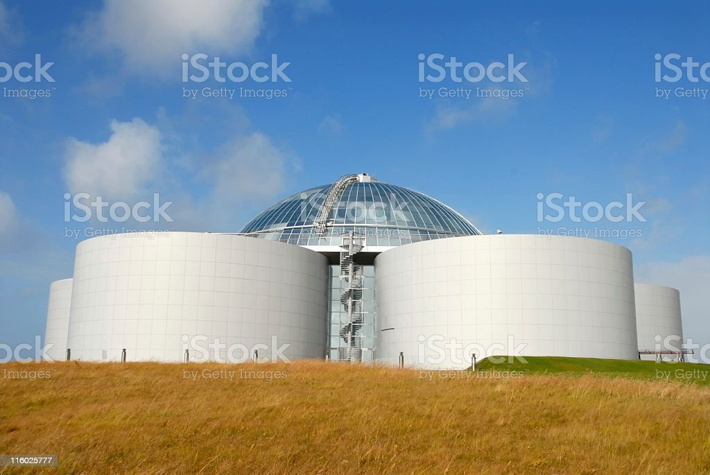 Perlan building (Öskjuhlid Hill) hot water storage tanks, Reykjavik,Iceland royalty-free stock photo