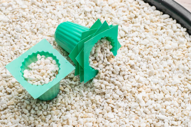 perlite with green cup stock photo